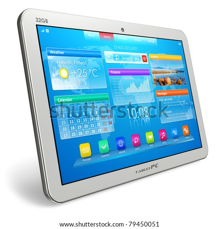 White tablet PC isolated on white background - stock photo