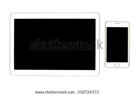 White Tablet. Tablet pc on white background. - stock photo