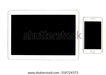 White Tablet. Tablet pc on white background. - stock photo