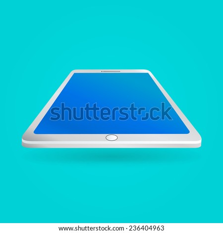 White tablet with empty screen isolated on blue background. Perspective view. illustration  - stock photo