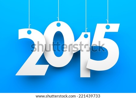White tags with 2015 - stock photo