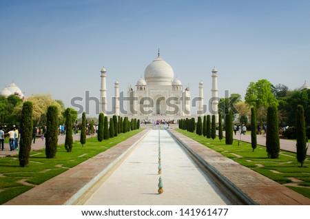 white taj mahal against blue sky - stock photo