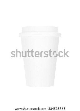 White takeaway coffee cup isolated on white background with clipping path. - stock photo