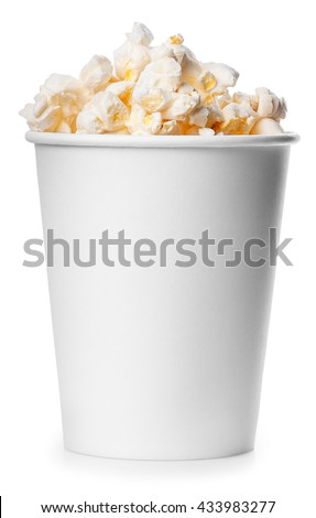 White takeaway cup full of popcorn isolated on white background. Full bucket of popcorn - stock photo