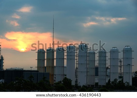 White tanks in oil depot - stock photo