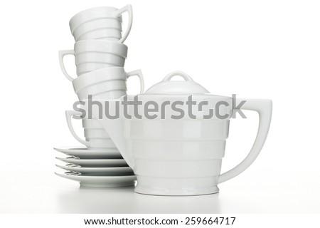 White Tea Set - stock photo