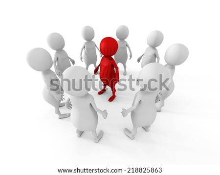 white team group stand around red leader boss. leadership concept 3d render illustration - stock photo
