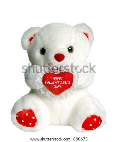 "White teddy bear holding heart pillow that says ""Happy Valentine's Day"" - stock photo"
