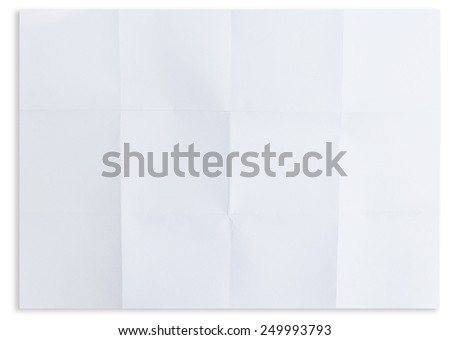 white textured sheet of paper folded in 12, isolated on white - stock photo