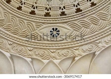 White thai art stucco wall in Thai temple - stock photo