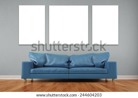 White three piece canvas over sofa in a living room on wall (3D Rendering) - stock photo