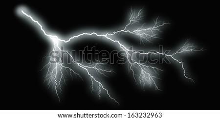 white thunder on black background - stock photo