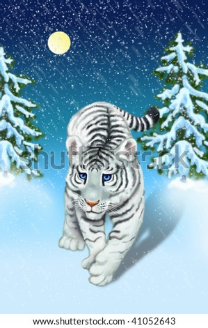 white tiger in ?????? wood - stock photo