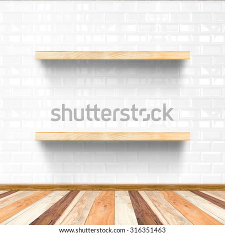 white tile room and wooden flooring with wooden shelf, Mock up for display of product - stock photo