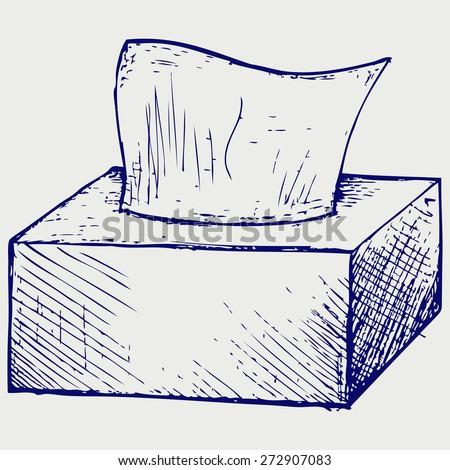 White tissue box. Doodle style. Raster version - stock photo
