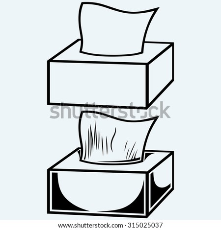 White tissue box. Isolated on blue background. Raster version - stock photo