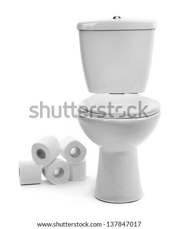 White toilet bowl with toilet paper, isolated on white - stock photo