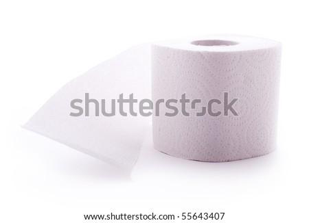 White toilet paper roll - stock photo