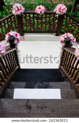 White towel foot welcome. - stock photo
