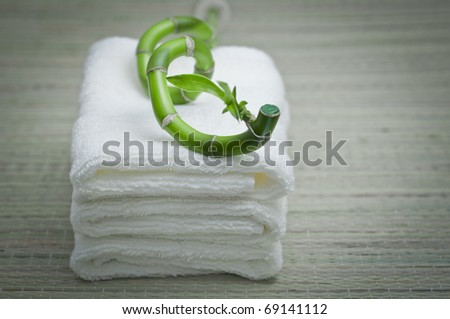 White towel with green bamboo - stock photo