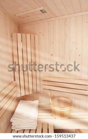 white towels in sauna room - stock photo
