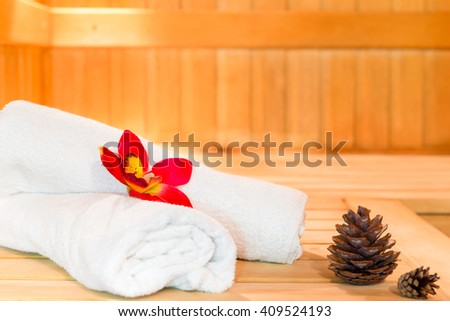 white towels in the spa style shot in the sauna - stock photo