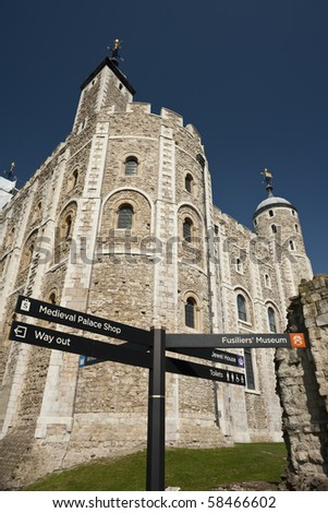 White Tower in the Tower of London, England - stock photo