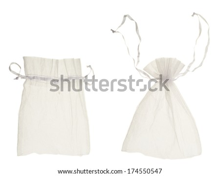 White transparent drawstring bag packaging isolated over white background, set of two, closed and open - stock photo