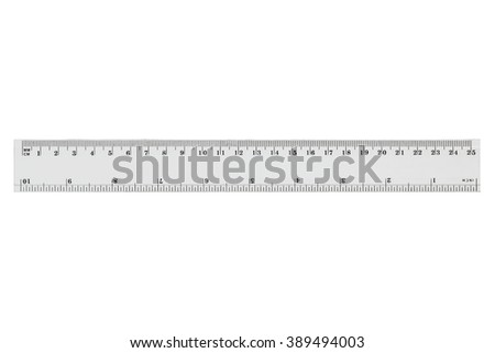 White transparent ruler, isolated on white background - stock photo