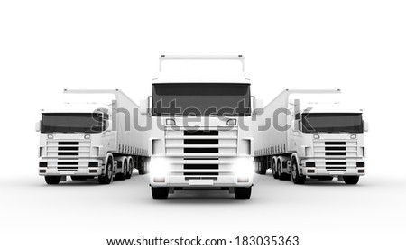 White transport trucks isolated on a white background - stock photo