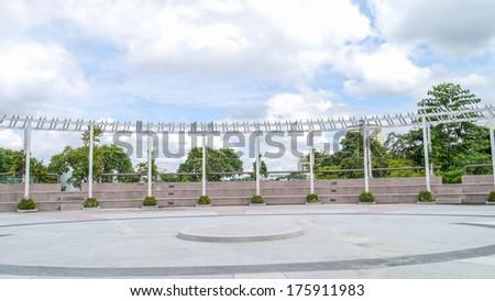 White trellis  in park Thailand. - stock photo