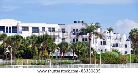 White Tropical Condominium Complex - stock photo