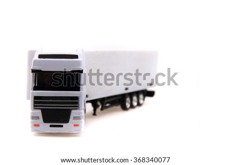 white truck isolated on the white background - stock photo