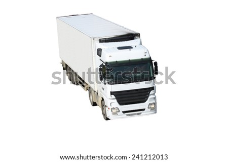White truck with trailer isolated on white background - stock photo