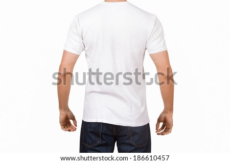 White tshirt template on young man for your design, back view, isolated on white background. - stock photo