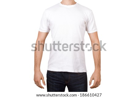 White tshirt template on young man for your design, front view, isolated on white background. - stock photo