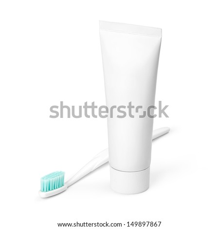 White tube of toothpaste and toothbrush on white background. Studio shot with 2 clipping paths. - stock photo