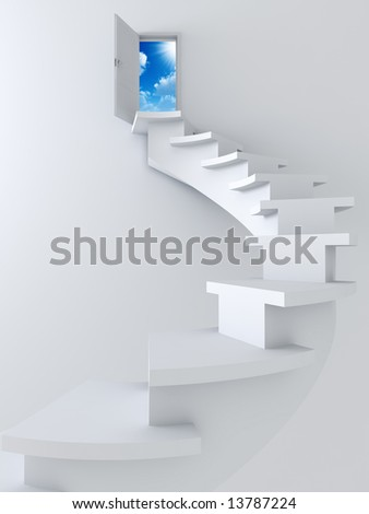 White twisted ladder and opened door with blue sky and sun - stock photo