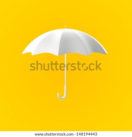 White Umbrella on Yellow Background - stock photo