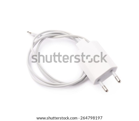 White usb adapter charger isolated over the white background - stock photo
