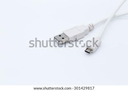 White USB cable isolated on white background - stock photo