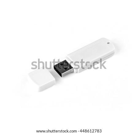 White usb flash drive on a white background - stock photo