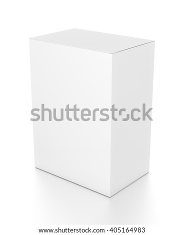 White vertical rectangle blank box from top side angle. 3D illustration isolated on white background. - stock photo