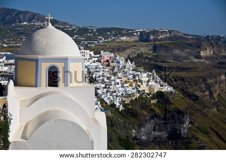 White village of Fira in Santorini, Cyclades Islands, Greece - stock photo