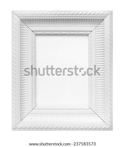 White vintage art frame isolated on white background - stock photo