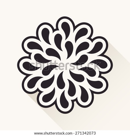 white vintage flower. Silhouette plants drops black emblem - stock photo