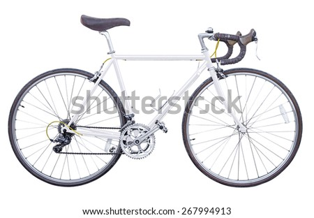 white vintage road bike isolated - stock photo