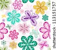 White vintage seamless pattern with colorful flowers and butterflies - stock photo