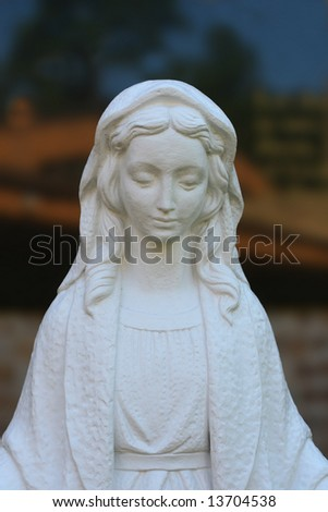 White Virgin Mary Statue(Release Information: Editorial Use Only. Use of this image in advertising or for promotional purposes is prohibited.) - stock photo