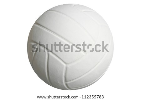 White volleyball isolated on white with clipping path - stock photo